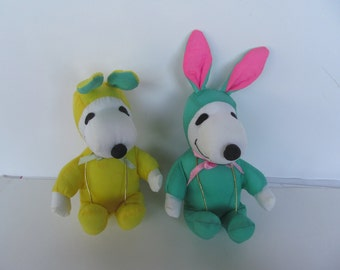 Peanuts Snoopy Plush - Easter Bunny's - set of 2 - yellow and green