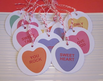 Conversation Heart Valentine's gift / favor tags / set of 20