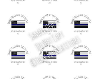 2018** Instant Download, Police Week, Police Appreciation, Printable, Gift Tags, Labels, Stickers, Cupcake Toppers, Digital File