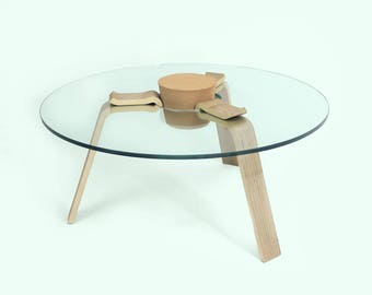 Designer coffee table with XXL corks in New York style | Modern Living room Sofa | Glass Plate Ø 90 cm