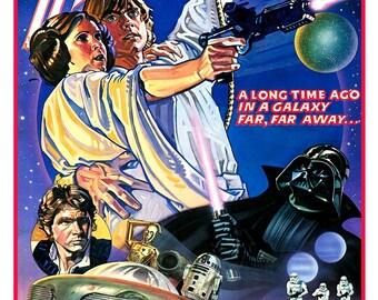 "Star Wars poster - Luke Skywalker Princess Leia Darth Vader - 13""x19"" or 24""x36"" - Sci Fi  Movie Poster Art - Starwars Han Solo R2D2 C3PO"