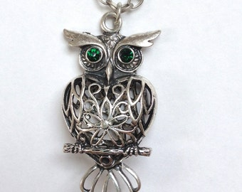 """30"""" Long Owl Necklace with Green Eyed Owl Pendant"""