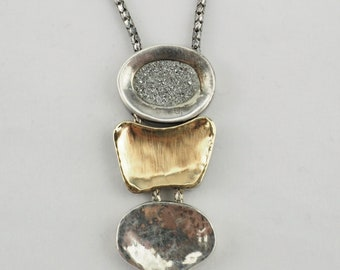 Vintage sterling silver dual color abstract organic design pendant chain necklace Italy