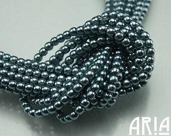 LIGHT TEAL SATIN: 2mm Czech Glass Pearl Beads (150 beads per strand)