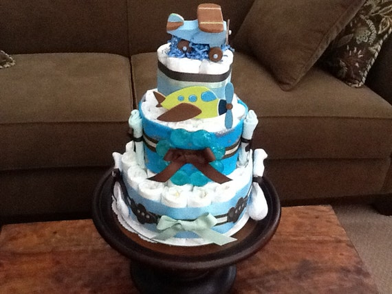 Airplane Diaper Cake Baby Shower Centerpiece Or Gift Other