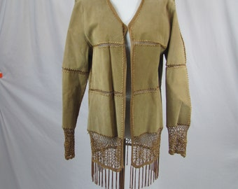 Awesome Vintage 90s LEATHER / SUEDE Hippie / Boho / Fringe Jacket