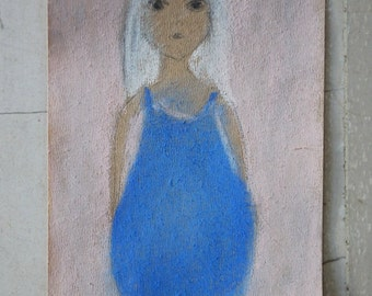 Small Pastel Drawing - Little girl with blue summer dress -- Original art on delicate paper -- Small format fine art