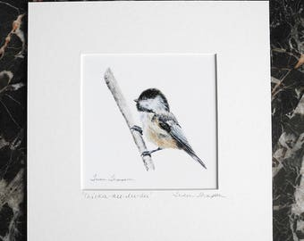 Chickadee Print, woodland art, bird painting, bird art, chickadee painting, chickadee art, forest theme art, songbird art, bird home decor