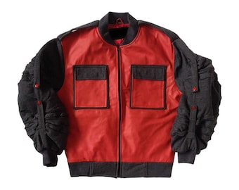 Back To The Future II Jacket Marty Mcfly Jr. Costume Adjustable Sleeves Coat Movie 2 Fancy Dress Halloween Cosplay Prop Gift High Quality