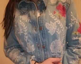 Vintage embroidered floral jean jacket