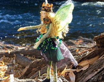 "Fae Folk® Fairies - EM - Jewel Fairy. Bendable, posable 5"" soft doll can sit, stand, or hang."