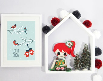 Winter Wall Art | Let it snow | Christmas art | Cardinals sitting on snowy branch with gloves dangling | cute winter theme | winter nursery