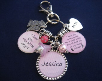 Memorial Bereavement Purse Charm - Key Chain - Key Ring - Necklace - Personalized With Child's Name