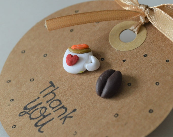Coffee lover gift, coffee earrings, coffee shop owner gift, coffee shop opening, love coffee, original earrings gift, personalised jewelry
