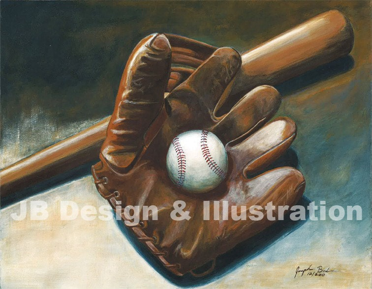 Vintage Baseball Glove Bat Painting Print