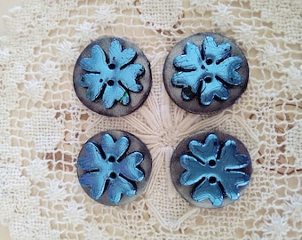 Set of 4 polymer clay buttons, round buttons, handmade buttons, unique buttons, blue and black buttons, flower buttons, knitting, cards