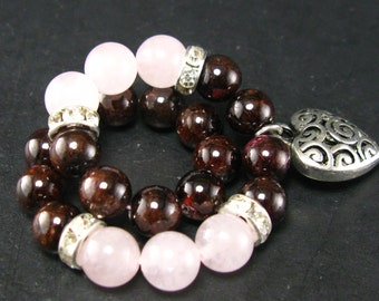 Garnet and Rose Quartz Bracelet - 8mm
