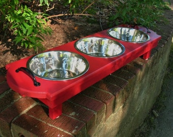 Red Elevated Wooden Cat or Dog Feeder,Dog Bowl, Raised Dog Feeder, Dog Stand, 3 Two Quart Stainless Bowls, Black Handles, Made To Order