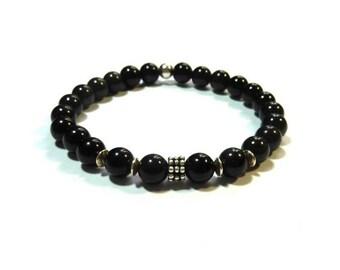 Men's bracelet elastic - natural stone, obsidian, Silver 925