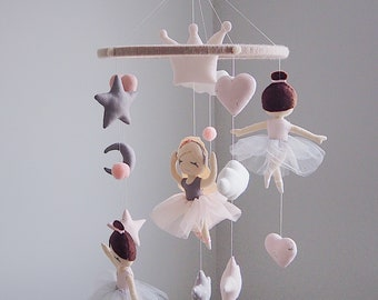 READY TO SHIP - The Ballerinas Mobile - The Mobile for girl - Fantasy Mobile - girl Mobile - Cotton Mobile - Baby Mobile - Fantasy Nursery