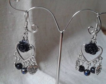 Black beads and Flower Earrings