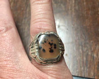Montana Agate Ring ~ Sterling Setting ~ Approx. Size 9
