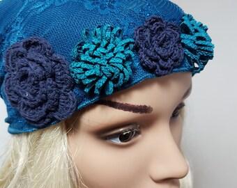 Blue Head Scarf , Tichel,  Blue Hair Covering , Blue Bandana , Blue Head Wrap , Women Hats , Chemo Scarf , Headscarves , Blue Headwear