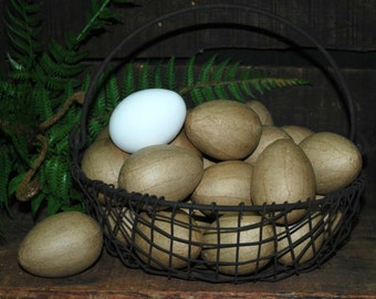"24 Unfinished Paper Mache Eggs ... 2-1/2"" chicken size ... ready to paint or decoupage"
