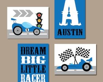 RACE CAR Wall Art, Big Boy Room Decor, CANVAS or Prints, Cars Boy Nursery Decor, Transportation Theme, Dream Big Little One, Set of 4