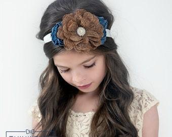 Denim Headband, burlap headband, flower girl headband, Baby headbands, shabby chic denim headband, Denim Hair bow, burlap hair bow,headbands