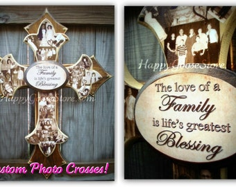 Wall Cross - Wood Cross - Large PHOTO Cross - 3 layers - You choose the colors and plaque saying - holds up to 15 photos
