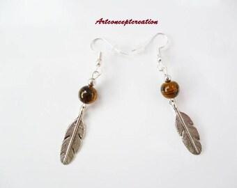 Earrings (healing) feather jewelry gift idea pendant Tiger eye beads