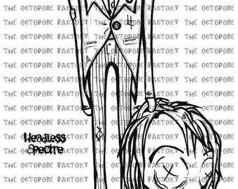 INSTANT DOWNLOAD Halloween Headless Spectre Digital Stamp Image