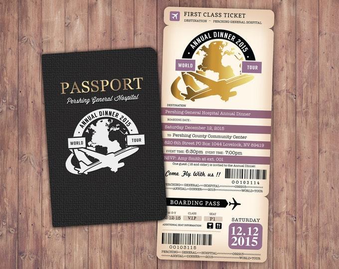 Corporate invitation, Retirement Party Invitation, Bon Voyage, travel, passport, destination, invite, birthday, Digital files only