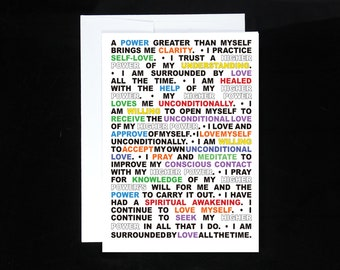 12 Step Recovery Affirmation Greeting Cards   Alcoholics Anonymous Anniversary   Alanon   Recovery gift   AA Birthday Card   Twelve Steps