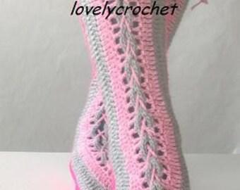 Overknee Socks/Slippers in grey,pink and rose