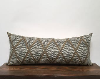 Long Lumbar Pillow, Gray, White, Gold King Queen Lumbar Bolster Pillow, Abstract Tribal Print Boho Modern Extra Long Lumbar, Long Bolster
