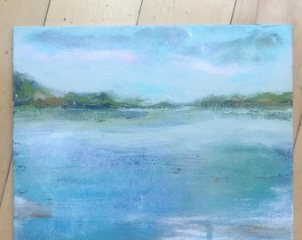 Original Landscape Painting, Lake art, original art, sea, beach, sky, Landscape, Fine Art, Nature, Modern Art