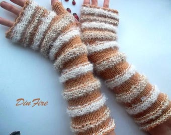Women Size L 20% OFF Ready To Ship Gloves Fingerless Mittens Hand Knitted Cabled Striped Accessories Wool Mohair Wrist Warmers Winter 828