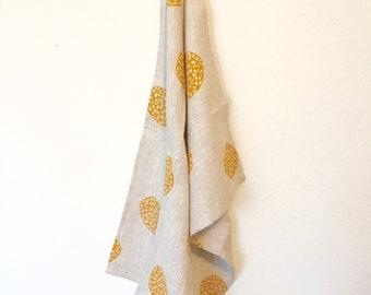 Abstract Petoskey Stone Block Print Tea Towel in Mustard