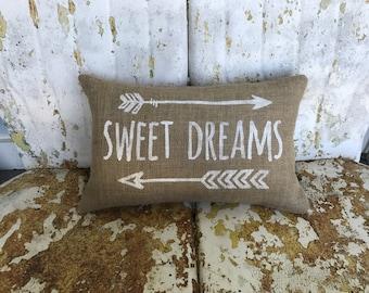 Burlap Pillow SWEET DREAMS and Arrows  Burlap Pillow Throw Accent Pillow Custom Colors Baby Shower Nursery Kids Room Decor