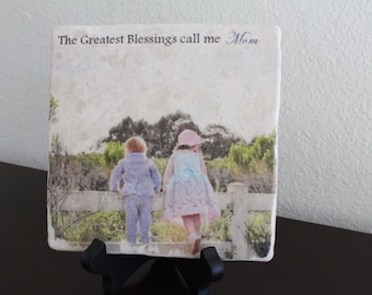 """Personalized """"The Greatest Blessings Call me Mom"""" Marble Photo tile"""