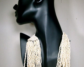 Beach Bride Long Multi Strand WHITE Bib Necklace,  23 Strands Glass  Breastplate, 1980s, Chunkier Earthy Seed Beads, Almost White