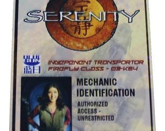 Firefly Serenity Kaylee Prop ID Badge