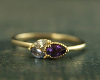 14K Yellow Gold Cluster Ring Budding Purple Ring Birthstone Ring Amethyst Ring Tanzanite Ring White Sapphire Ring Pear Shaped Stackable Ring