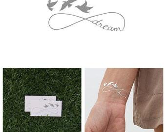 Weightless - Metallic Silver Temporary Tattoo (Set of 2)