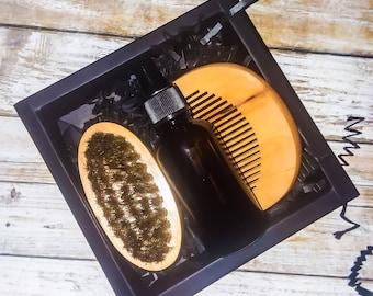 Beard Oil Grooming Kit -1 Wood Peach Comb, 1oz Beard Oil, & 1 Boar Bristle Brush