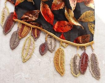Velvet Crocheted Scarf Fire colors Velvet Organza Luxurious Accessory