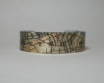 Pittsburgh Pennsylvania Map Cuff Bracelet Narrow Unique Gift for Men or Women