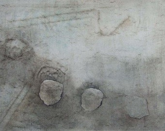 Original oil painting North Yorkshire Moors landscape. Neutral tones modernist minimal composition